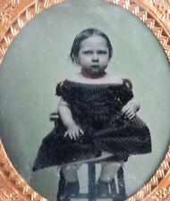 FANCY GIRL Ambrotype Photo in VERY UNUSUAL Gutta Percha UNION CASE Daguerreotype