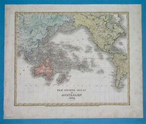 1849 ORIGINAL WORLD MAP PACIFIC AMERICA ASIA AUSTRALIA UNITED STATES New Holland
