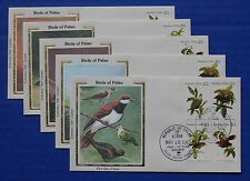 "Palau (5-8, 8a) 1983 Birds of Palau Colorano ""Silk"" FDCs"