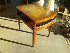 Vintage Mid-Century Weiman Heirloom Accent Table Leather Top High-End Home Decor