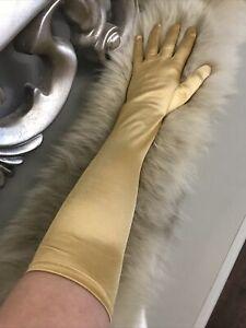 Long Satin Gold Stretch Gloves Princess 20's Burlesque Evening Opera Fancy Dress