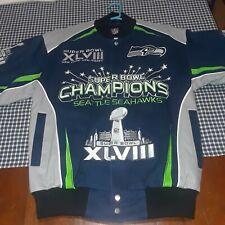 Seattle Seahawks Super Bowl XLVIII 48 Champions jacket coat snap up size M rare