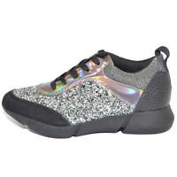 Sneakers bassa donna glitterato grigio effetto sirena con fondo bianco fortino i