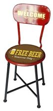 Sedia bar pub design industrial seduta con FREE BEER schienale WELCOME HLHT27756