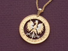 "Poland Falcon Coin Pendant Necklace.Hand Cut Polish Coin -1"" diameter ( # 431 )"