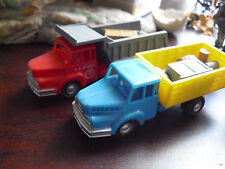 "Lot of 2 Vintage 1970s Plastic Dump Other Trucks with Loads 3 3/4"" Long LOOK"