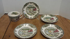 5 pcs. The Friendly Village Ice House saucers & teacup Johnson Brothers England