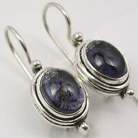 """925 Sterling Silver IOLITE EXQUISITE Earrings 1"""" INDIAN JEWELRY Friendship Day"""