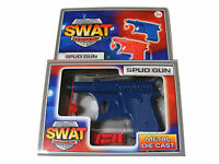 CHILDRENS KIDS BLUE DIE CAST METAL SWAT ACADEMY POTATO / SPUD GUN TOY  - NEW