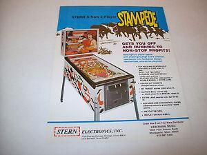 STAMPEDE By STERN 1977 ORIGINAL NOS PINBALL MACHINE SALES FLYER 1st STERN PIN