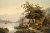 Nice Landscape Oil painting sail boats by the river with trees in sunset