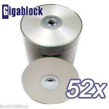 1000 pcs CD-R 52x Silver Inkjet Full Face Hub Printable Disc Blank Media