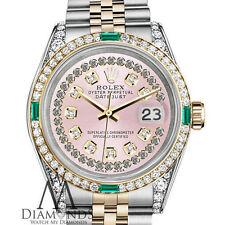 Women's Rolex Steel & Gold 26mm Datejust Watch Pink String Emerald Diamond Dial