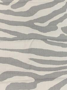 """SCALAMANDRE CURTAIN FABRIC DESIGN """"Zebra"""" 2.4 METRE ZINC GREY 100% HEAVY LINEN"""
