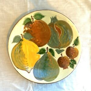 Vintage Puigdemont Majolica Pottery Charger/Tray/Wall Plaque - Fruit -Spain