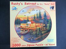 """SunsOut """"Rusty's Retreat"""" Cabin on the Lake 1000 pc Round Puzzle by D.L.Rust"""