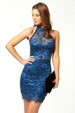 BLUE ELEGANT EVENING COCKTAIL/PARTY FLORAL LACE DRESS 10/14