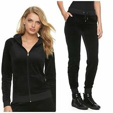 NWT Juicy Couture Velour Track suit Women Black Solid Jacket Jogger Pants small