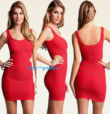 NWT bebe red textured tank cutout bodycon skirt top dress sexy M L 6 8 10 party
