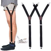 Men's Shirt Stay Garters Y-Shape Elastic Shirt Straps Sock Clamps Leg Suspender