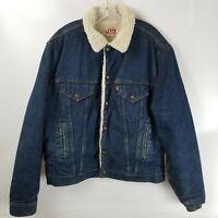 Vintage Men's Levi's 527 Sherpa Denim Trucker Jacket Size 46L XLarge Made In USA