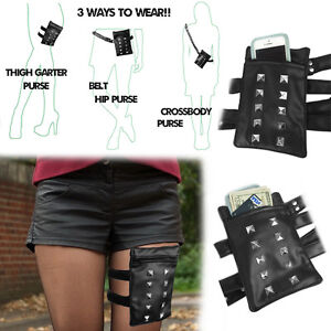 Mini Waistbag Leather Studded Motorcycle Leg Thigh Cell Phone Pocket Holster Bag