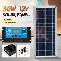 30W Dual USB Flexible Solar Panel Kit+Controller+Clip Outdoor Car Charger Power