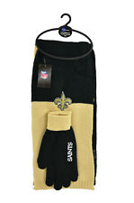 New 3PC NFL New Orleans Saints Colorblock Scarf & Glove Gift Set