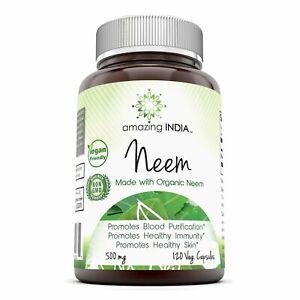 Amazing India Organic Neem 500 Mg 120 Veggie Capsules