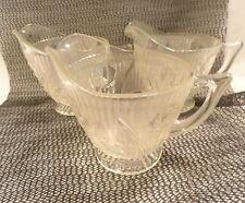 3 Iris & Herringbone Depression Glass Crystal Creamers Dealer Lot