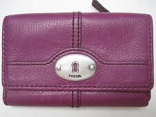 FOSSIL Womens Leather Wallet Trifold Clutch Purple Burgundy Snap Close Key Hole