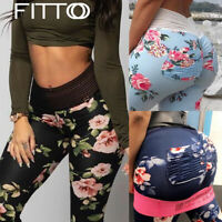 Women High Waist Yoga Leggings Ruched Gym Floral Push Up Sports Pants Fitness US