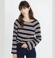 Madewell Texture & Thread Metallic Striped Knit Shirt Size Small Navy Blue New