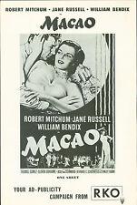 Macao (1952)  Robert Mitchum, Jane Russell, William Bendix film noir pressbook