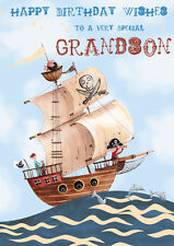 "Birthday Card Grandson ""Pirate Ship Design"" Square Size 5.25"" x 4.25"" GH0247"