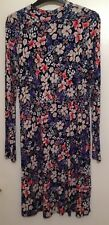Flower Floral Pattern Long Sleeve Dress Size 12 M&S Collection Stretch Material