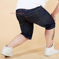 Men Casual Loose Denim Shorts Half Pant Jeans Stretch Cargo Denim Pants  28-48