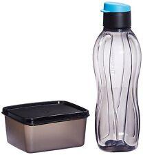 Tupperware Xtreme Set - Black Flip Top Eco Water Bottle 750 ml + Keep Tab Box