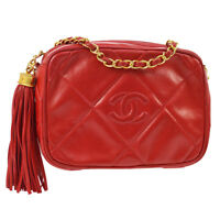 CHANEL Quilted CC Fringe Chain Shoulder Bag Red Leather GHW Authentic AK36833d