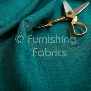 Quality Teal Blue Colour Linen Effect Chenille Plain Material Upholstery Fabrics