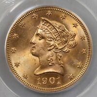 1901-S Liberty $10 PCGS Certified MS65 Old Green Label Premium Quality Gold Coin