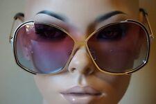 OVERSIZE HUGE VINTAGE 70's RETRO Style SUN GLASSES Gold Frame Purple & Blue Lens