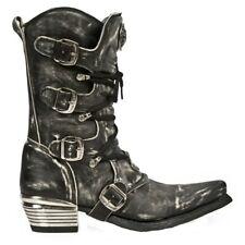 New Rock M.7993-S3 Men's Leather Boots Vintage Black Dallas leather boots