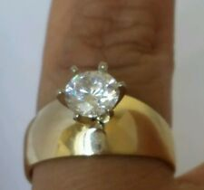 1 wide 14k real Yellow Gold Solitaire round man made Diamond Engagement Ring S 7