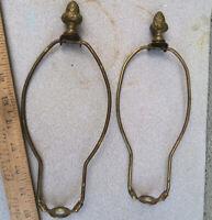 2 Vintage shade harp holder brass pineapple cast finial part for lamp shabby