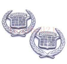 92-02 Cadillac 2pc Eldorado C Pillar Emblem Nameplate OEM Badge Crest Wreath