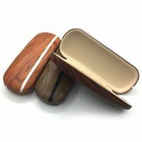 Hard Wooden Eyeglasses Case Striped Design Style Vintage Storage Eye Accessories