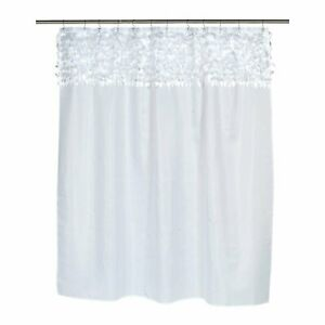 "Carnation Home ""Jasmine"" Fabric Shower Curtain in White"