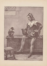 COURT JESTER WITH PET MONKEY ANTIQUE PRINT 1885
