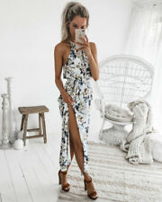 UK Boho Women Holiday Off Shoulder Floral Maxi Sundress Summer Beach Party Dress